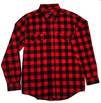 Faded Glory Mens Classic Yarn Dyed Plaid Cotton Flannel Shirt at ...