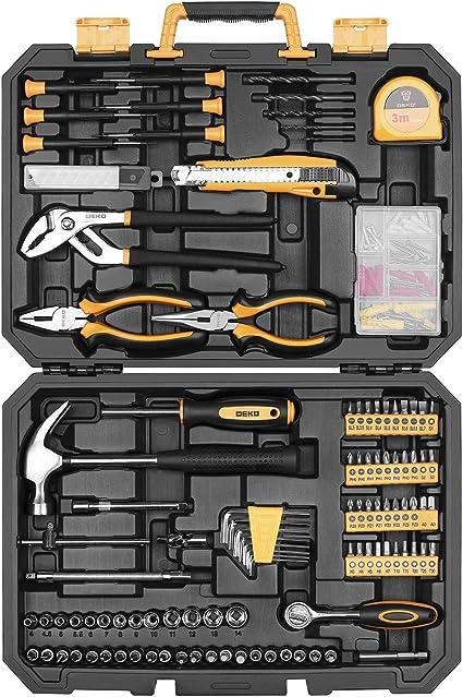 DEKO Juego de herramientas de 196 piezas Kit de herramientas de mano para el hogar en general con martillo rasgador, alicates de liniero, regla de cinta métrica y caja de herramientas de