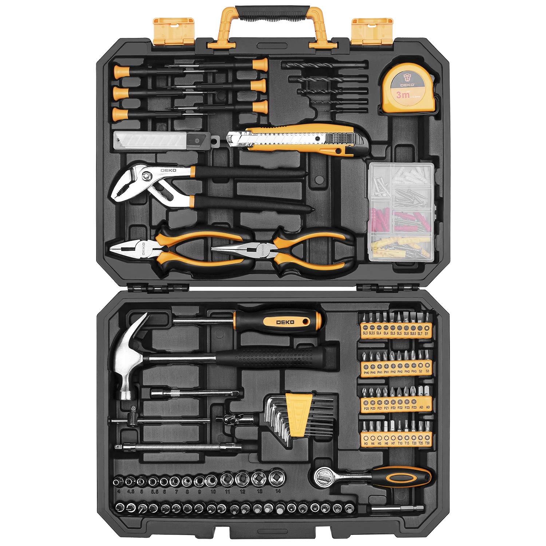 DEKOPRO 196 Piece Tool Set General Household Hand Tool Kit with Rip Claw Hammer,Lineman's Plier, Measure Tape Rule & Plastic Toolbox Storage Case