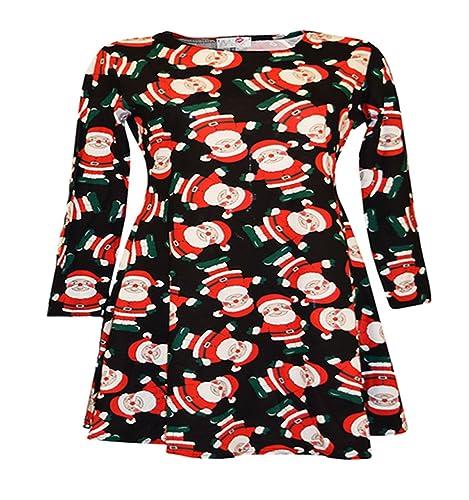 Vestito natalizio per Ragazze, Vestito per Mamma e Figlia con stampa di Babbo Natale su sfondo nero ...