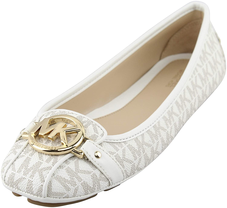 8d44729b7 Amazon.com   Michael Michael Kors Women's Vanilla PVC Fulton Moc Flats Mini  MK Logo 11 (B) US Women   Flats
