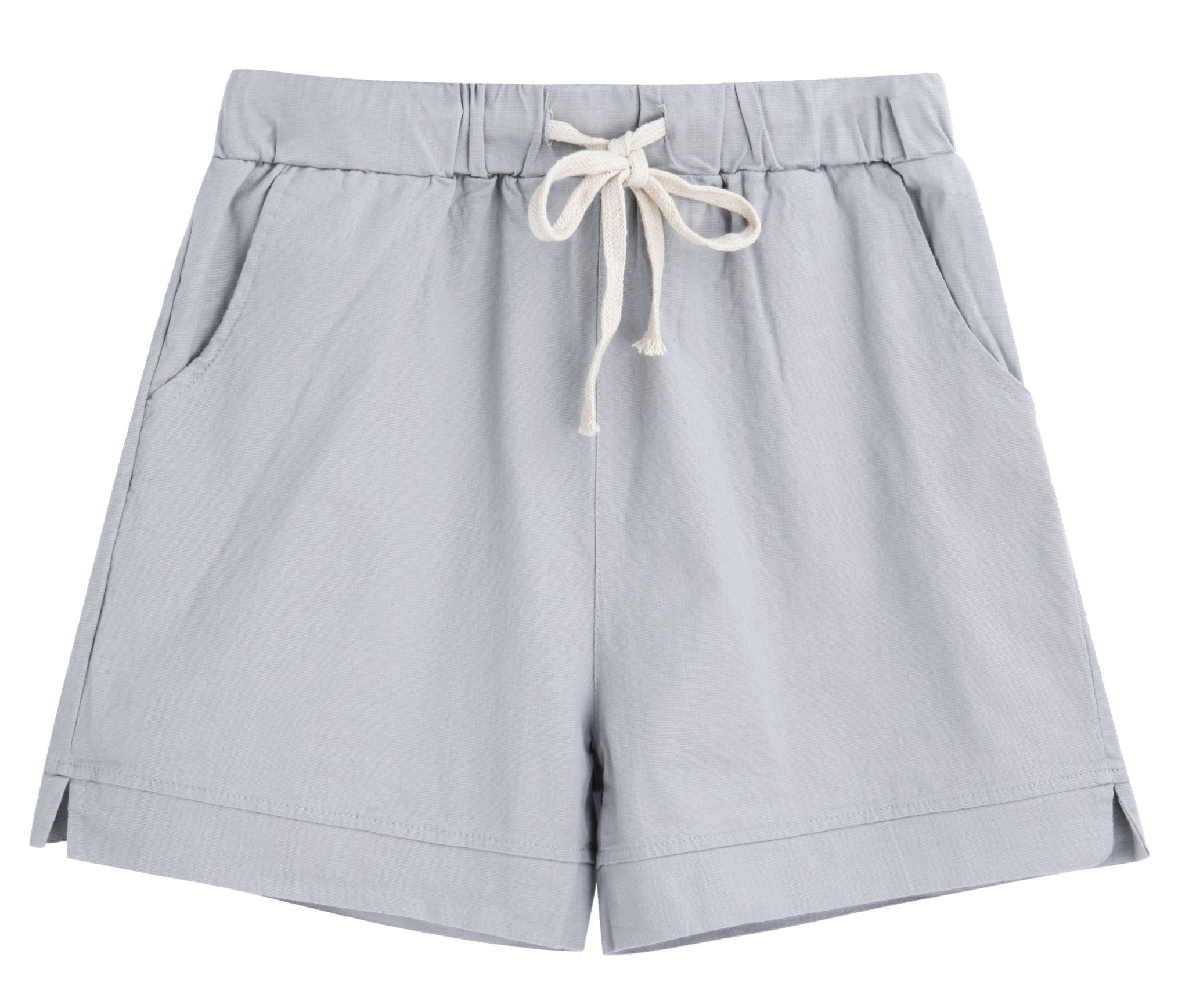 Yknktstc Womens Elastic Waist Cotton Linen Casual Beach Shorts with Drawstring US 4/6 Style 2 Grey