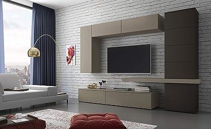 Parete Attrezzata Candia Mobile Soggiorno Con Colonna Mensola Mobili Sospesi E 2 Basi Porta Tv Salotto