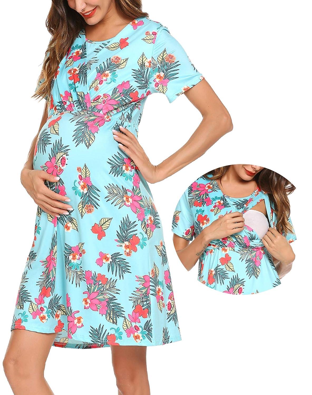 498faa06a23f zhenwei Vestiti Premaman Donna Manica Corta Estivo Pigiama Allattamento  Camicia da Notte  Amazon.it  Abbigliamento