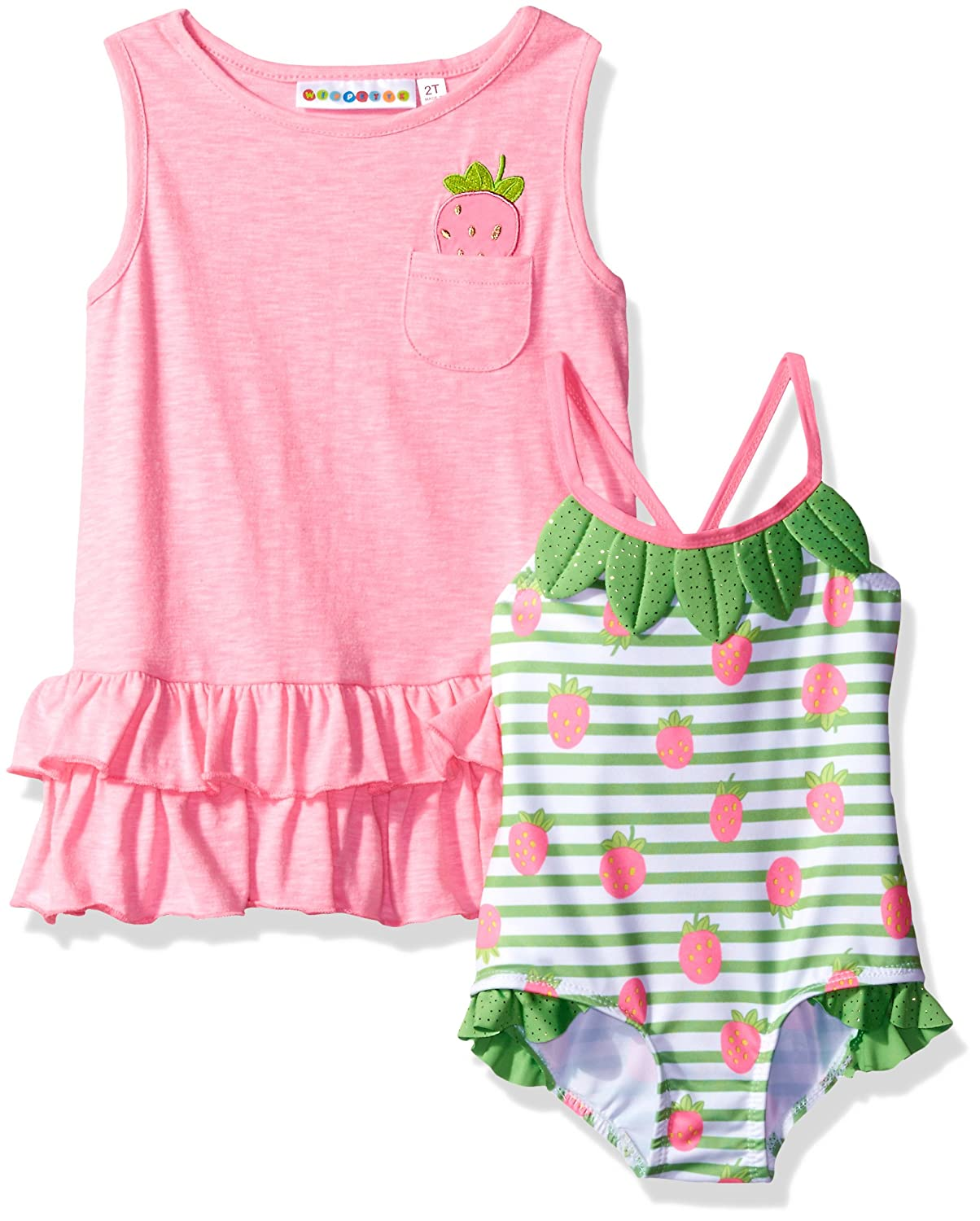 Wippette Baby Girls' Strawberry Swim and Cover Up Set, Sugar Plum 0/6M 89072