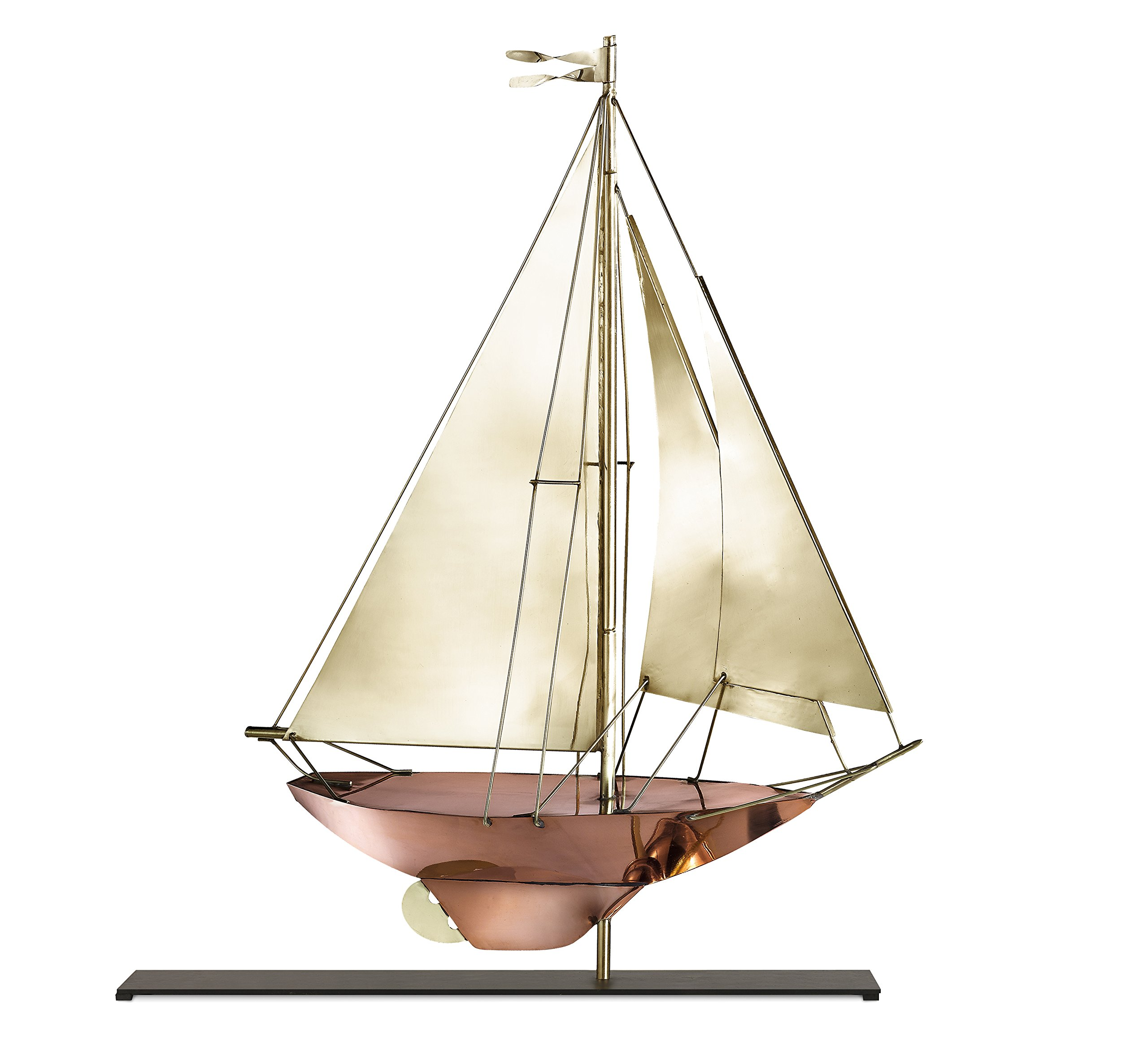 Good Directions Racing Sloop Weathervane Sculpture on Mantel / Fireplace Stand, Pure Copper and Brass, Nautical Home Décor, Tabletop Accent