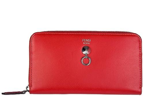 Fendi monedero cartera bifold de mujer en piel nuevo zip around rojo: Amazon.es: Zapatos y complementos