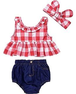 6ff208a33799 IWOKA Baby Girls Plaid Ruffle Bowknot Tank Top+Denim Shorts Outfit with  Headband