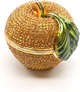 Faberge Box Decorative Enameled Figurines, 24K Gold Trinket Jewelry Box with Swarovski Crystal (Gold Apple)