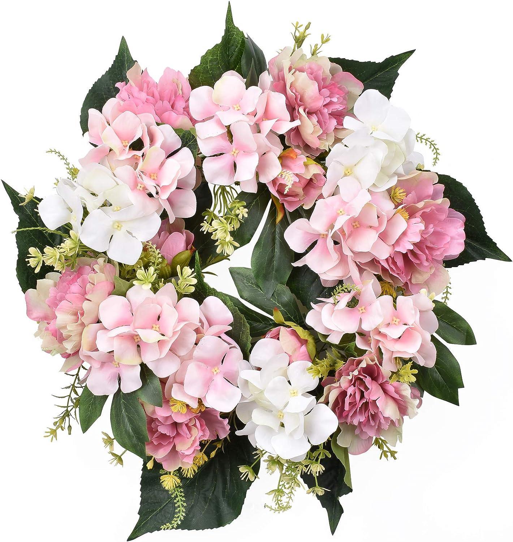 I-GURU Hydrangeas Spring Door Wreath 16-18 Inch, Artificial Summer Green Wreaths with Pink for Farmhouse Home Office Wedding Table Party Wall Windows Decor