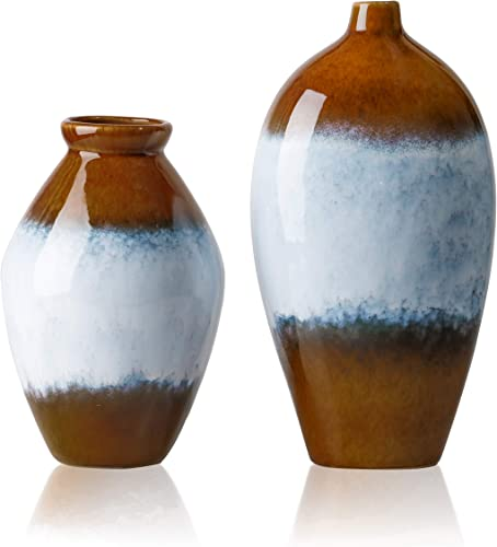 TERESA S COLLECTIONS Set of 2 Ceramic Flower Vases, Rustic Tribal Glaze Brown Stoneware Decorative Vases for Kitchen,Office,Wedding or Living Room