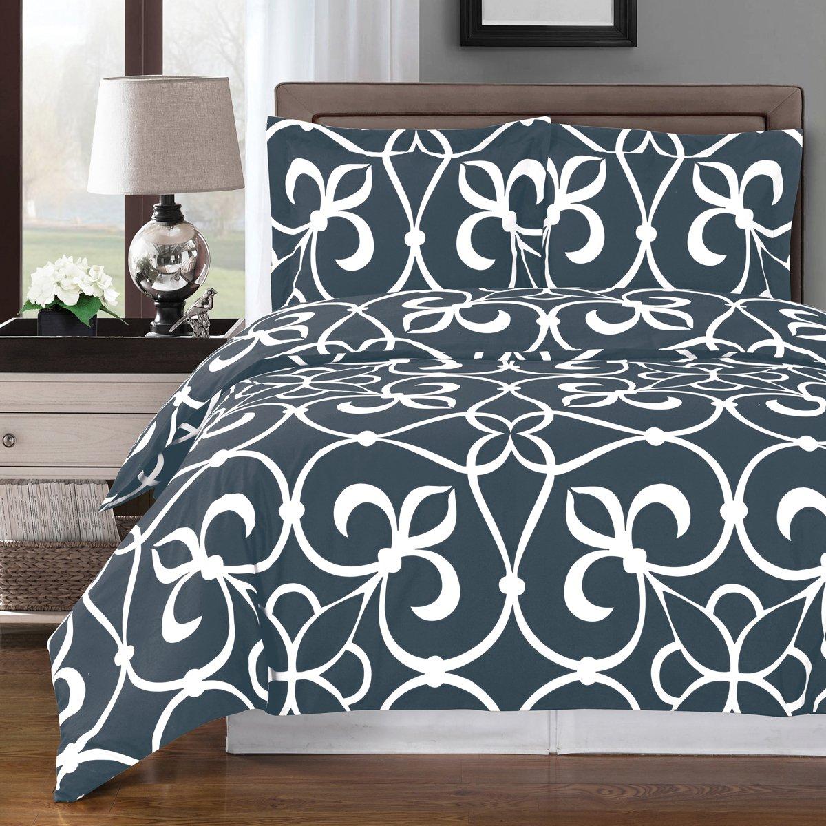 8pcs King size Bed in a bag Printed duvet set Including Cotton Victoria/Grey 3pcs Duvet cover set+ 4pcs King sheet set+ 1pc King/CalKing Down Alternative comforter