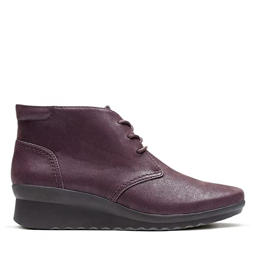 4b004f6c19ef Clarks Caddell Hop Textile Boots in Aubergine Standard Fit Size 3½ Purple