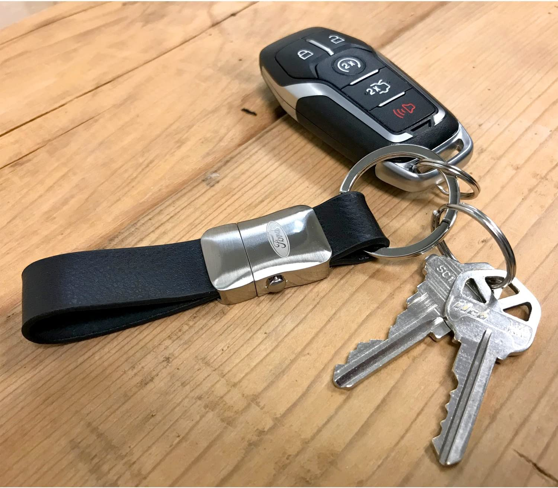 iPick Image Ford FX4 Genuine Black Leather Strap Detachable Key Chain