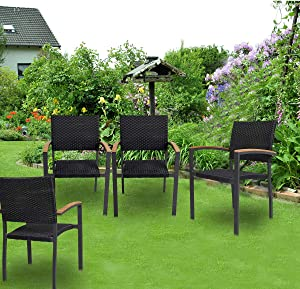KARMAS PRODUCT 4 Pack Outdoor Patio All Weather PE Wicker Dining Chairs with Aluminum Alloy Frame,Stackable Rattan Bistro Cafe Balcony Backyard Armchair Set (Black)