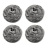 "Sunday (4 Pack) 3""/25gram Stainless Steel Scourer Dish Bowl Cleaning Scrubbers for Kitchens, Bathroom and More"