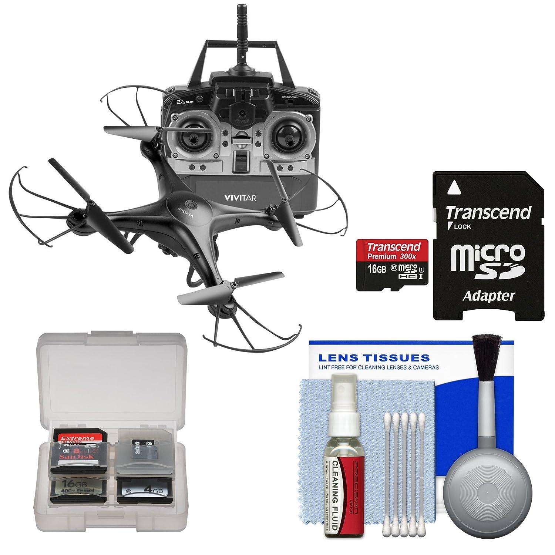 Vivitar drc-120航空クアッドコプタードローン(ブラック) 16 GBカード+カメラクリーニングキット B07CCZK29Q