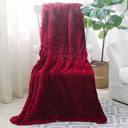 5d3919ba0e Amazon.com  NordECO HOME Super Soft Shaggy Long Fur Throw Blanket ...