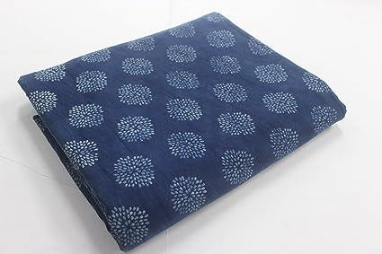Meera Handicrafts Indigo Buti Printed 5 Meter Cotton Fabric Garments