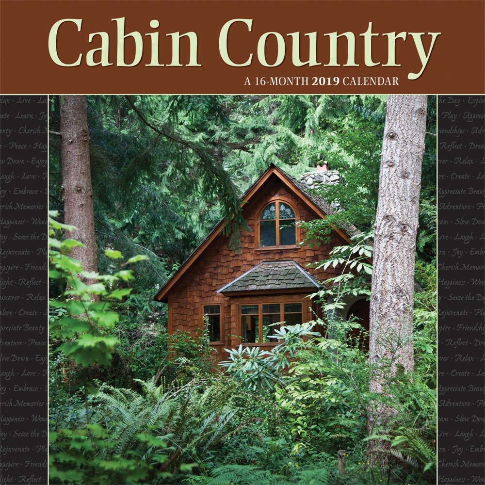 Cabin Country 2019 12 x 12 Inch Monthly Square Wall Calendar by Wyman, Outdoor Log Nature Rural