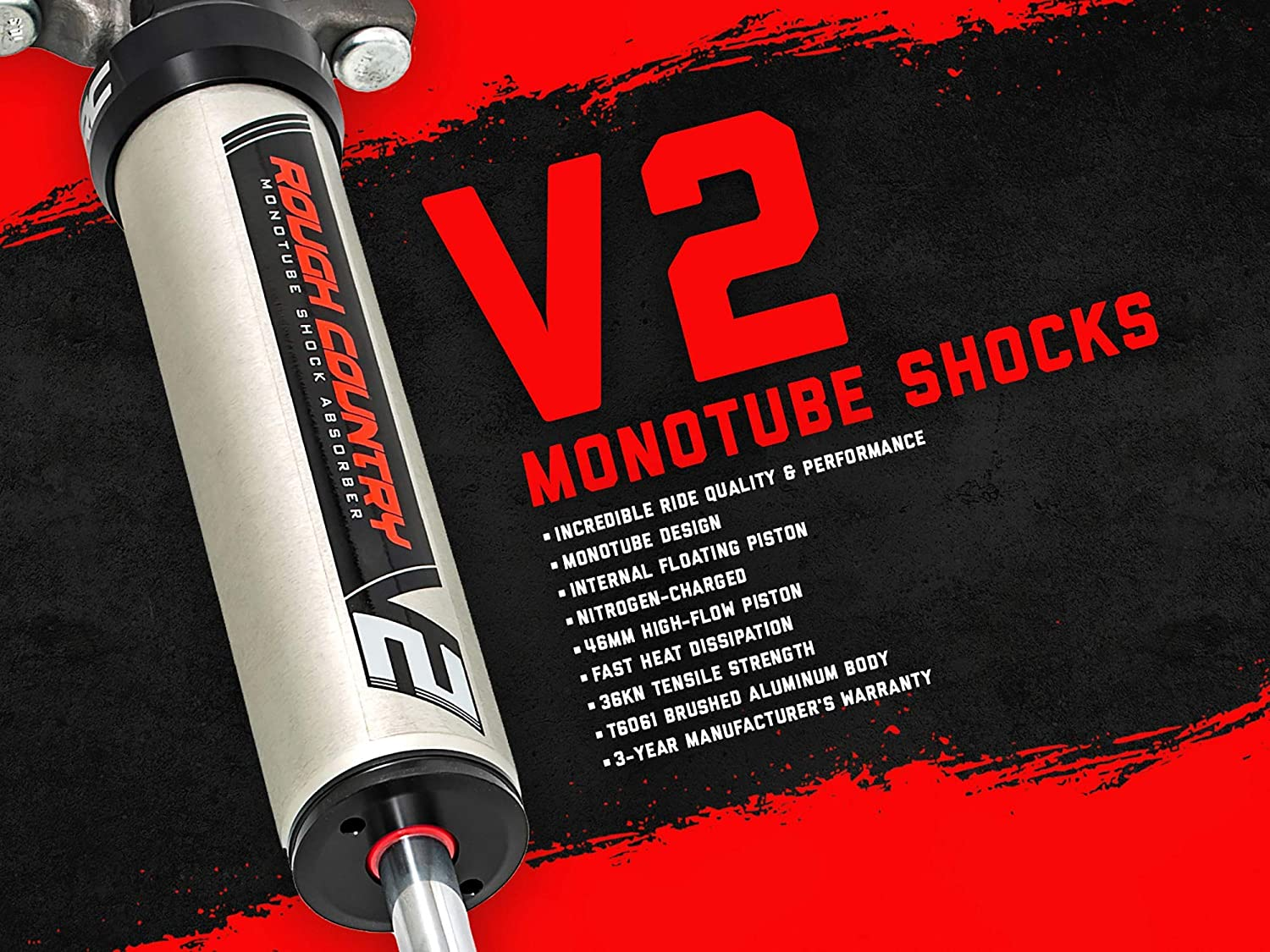 Pair 23188/_B 2003-2019 Ram 2500//3500 4WD w// 2.5 Lift Rough Country Premium N3 Front Shock Absorber fits