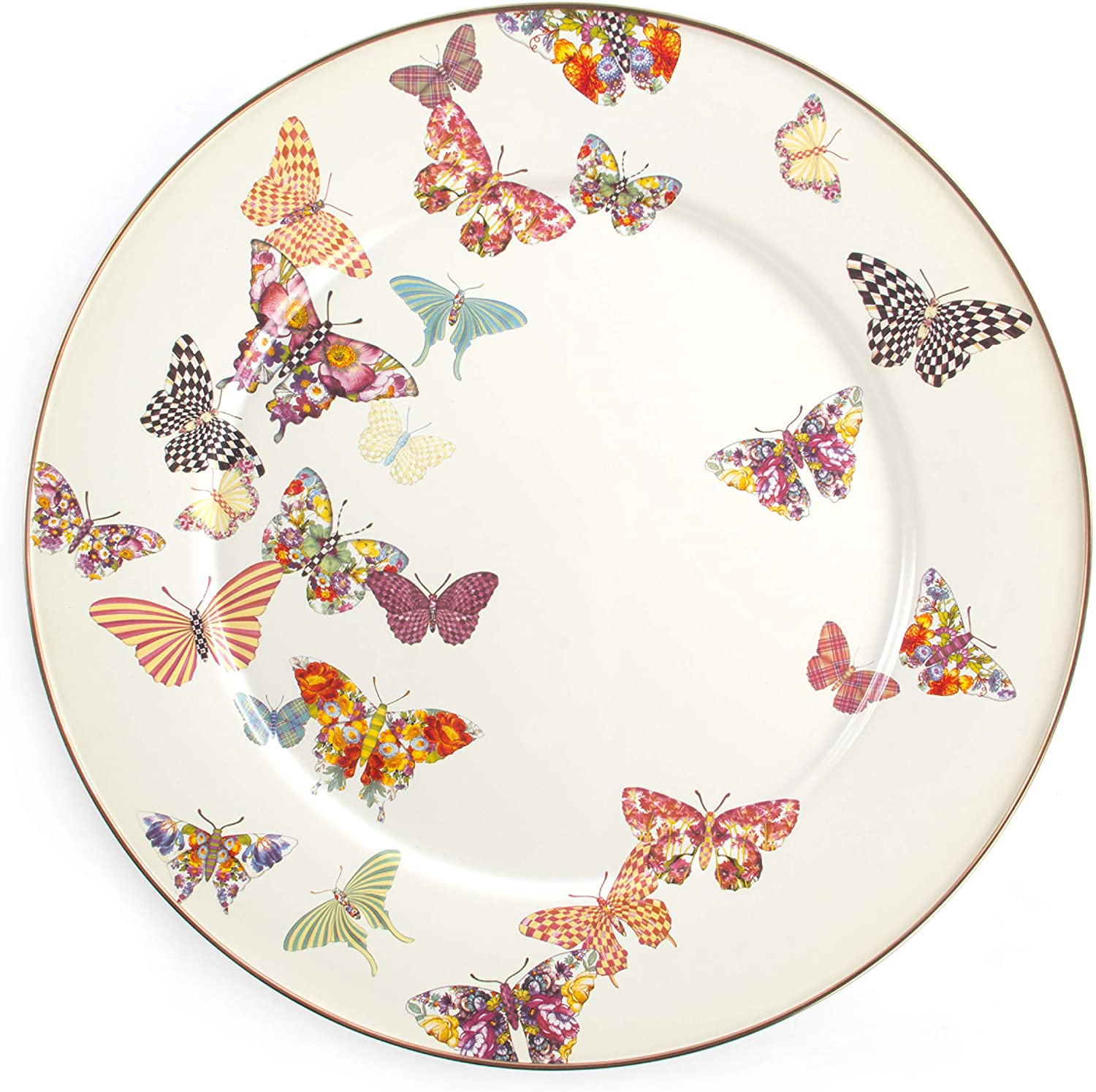 MacKenzie-Childs Butterfly Garden Serving Platter, Large Tea Tray, 16 Inches, White