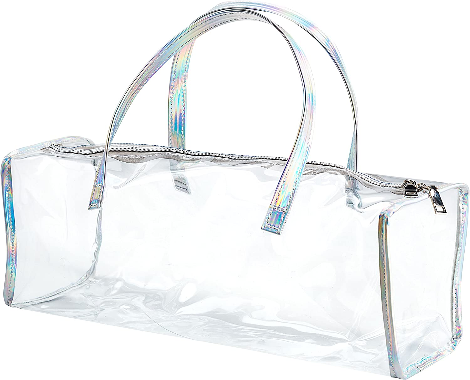 Family Size Travel Toiletry Case – Clear PVC Luggage Organizer Bag for Men and Women – Large Silver Hologram