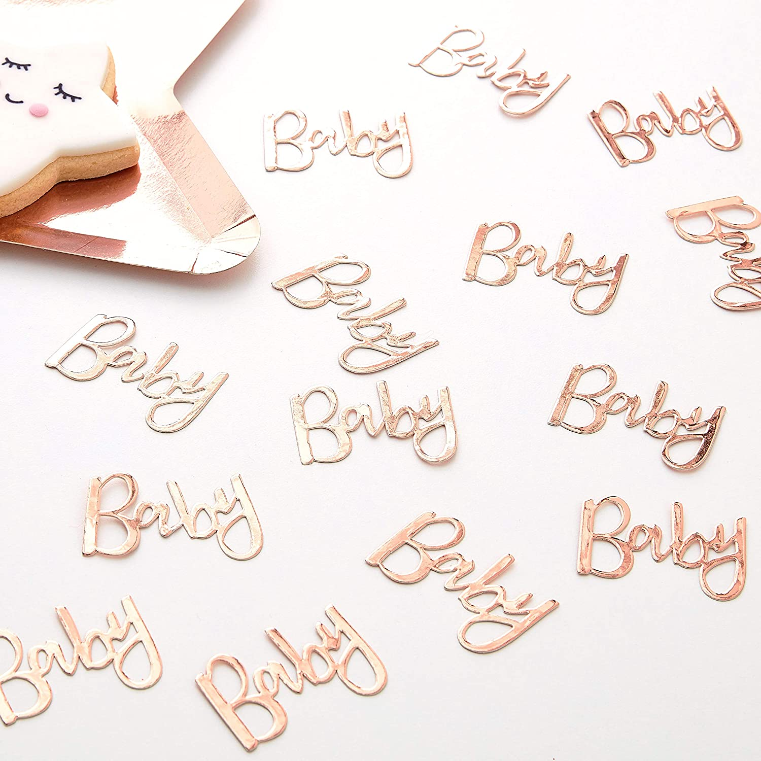 Ginger Ray Rose Gold Baby Shower Party Table Table Scattter Confetti Twinkle Twinkle
