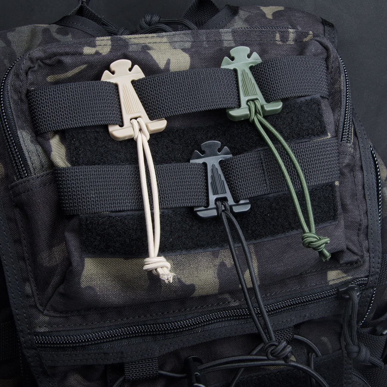 Tactical Gear Clip DYZD 4pcs MOLLE Web Dominators with Elastic String Multipurpose Fastener durable Tactical Strap Management Tool Backpack Accessories
