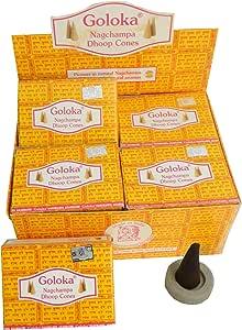 Goloka 120 conos de incienso Nagchampa Dhoop Cones 12 cajas con ...