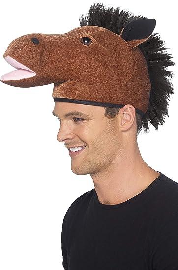 Smiffy's-22165 Sombrero de Caballo, con Crin, Color marrón, Tamaño único (22165)