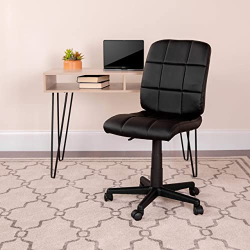 Flash Furniture Mid-Back Black Quilted Vinyl Swivel Task Office Chair – GO-1691-1-BK-GG