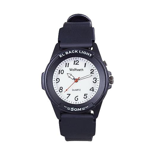 Wolfteeth Analog Quartz Boys Reloj De Pulsera con Segunda Mano Luminosa Retroiluminación Dial Blanco Resistente Al Agua Moda Reloj Negro 305201: Amazon.es: ...