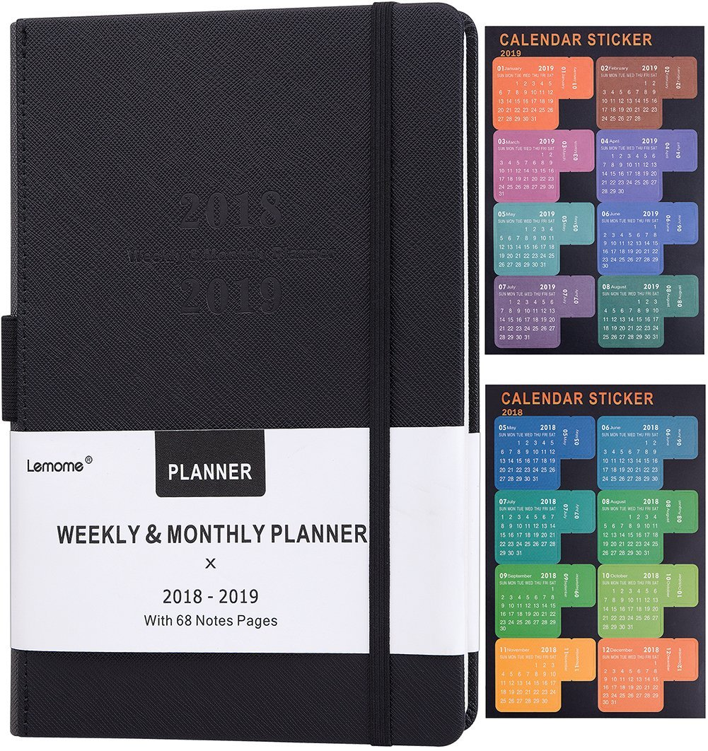 Planner 2018-2019 with Pen Holder -Academic Weekly, Monthly and Yearly Planner. Thick Paper to Achieve Your Goals & Improve Productivity, 5.75'' x 8.25'', Back Pocket with 68 Notes Pages - lemome