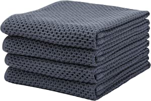 KIMHIRO 100% Cotton Kitchen Dish Cloths, Lightweight Waffle Weave Tidy Kitchen Dish Cloths, Soft Absorbent Quick Drying Dish Towels, 13x28 Inches, Set of 4, Dark Gray