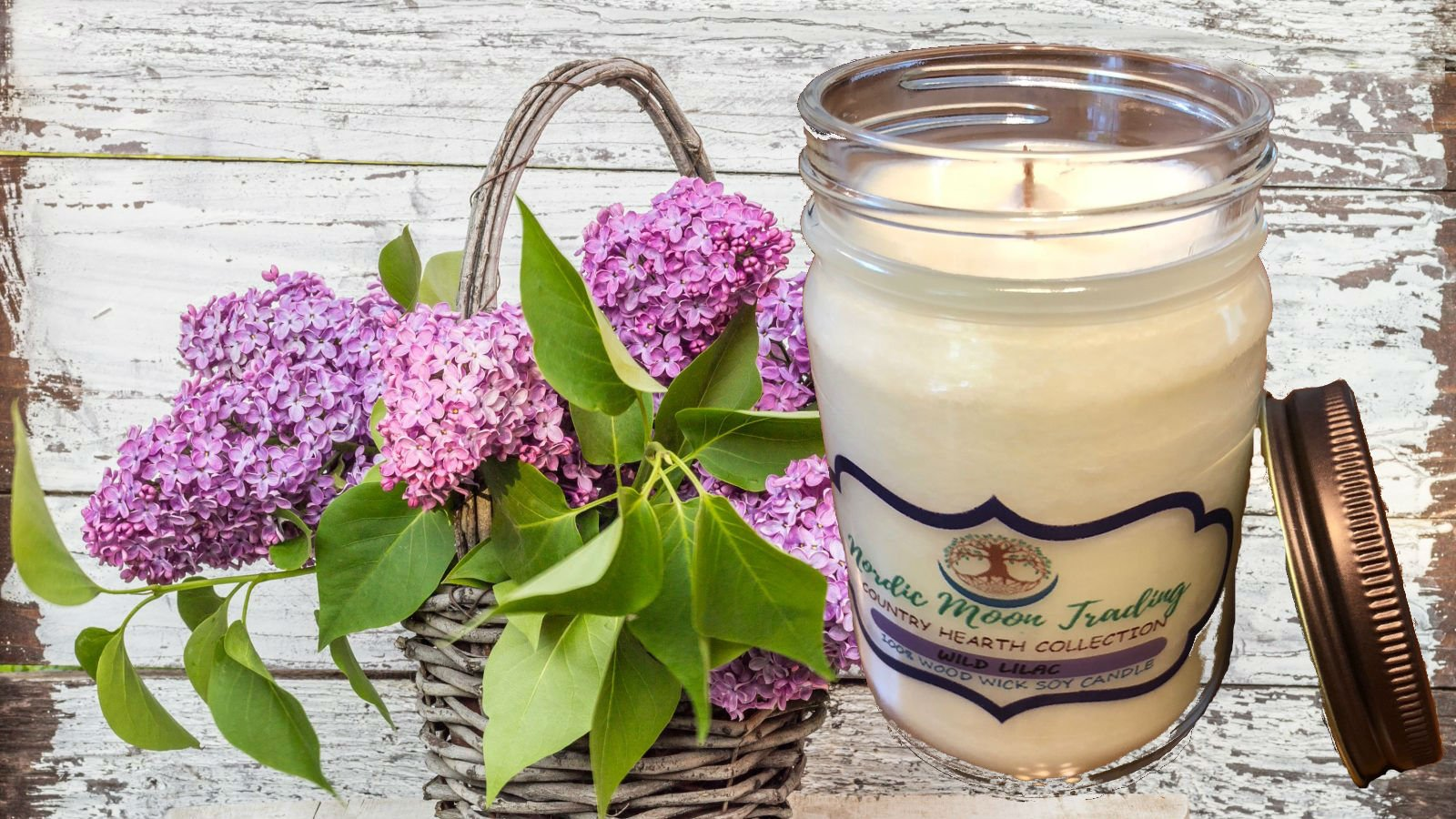 Nordic Moon Trading 100% Natural Soy Wax, Wood Wick Scented Candle 12 oz Mason Jar - Wild Lilac. Made in USA by Family Owned Business. 100 Hours of Burn Time. Clean Burning, No Black Soot. by Nordic Moon Trading (Image #6)