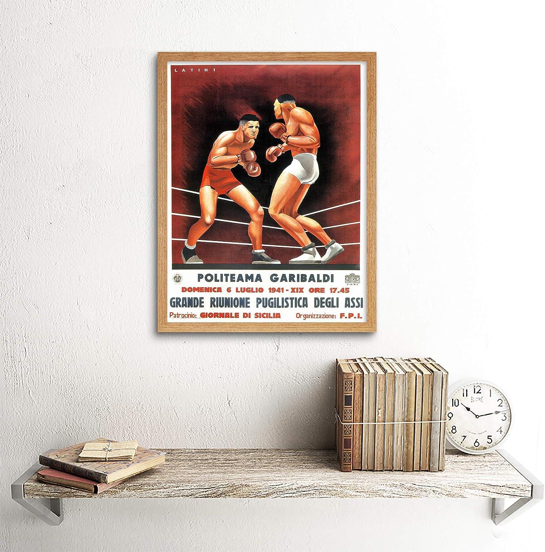 Boxing Advertising Italian Sicily Metal Sign Wall Plaque Art Vintage Retro