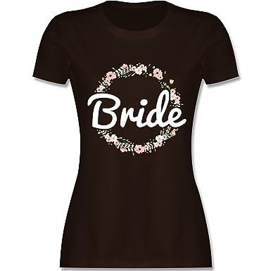 JGA Junggesellinnenabschied - Bride Blumenkranz - S - Braun - L191 - Damen T -Shirt