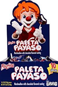 Paleta Payaso - Chocolate Coated Marshmallow Lollipop with Gummies - Party Pack of 10 Lollipops, 1.6 Oz Each