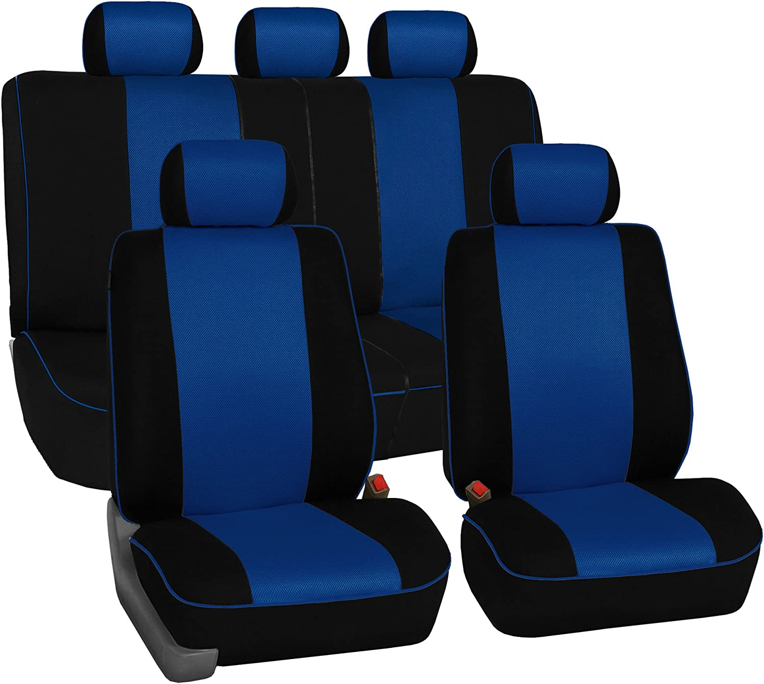 FH Group FH-FB063115 Full Set Sports Fabric Car Seat Covers Blue/Black, Airbag Compatible and Split Bench - Fit Most Car, Truck, SUV, or Van