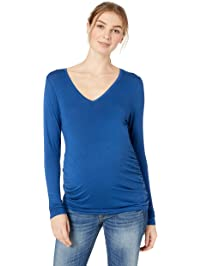Motherhood Maternity Womens Long Sleeve V-Neck Side Ruched Tee Shirt T-Shirt