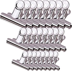 AIRFISH 24 Pack Chip Clips Bag Clips Food Clips with 3 Sizes Heavy Duty Stainless Steel Bulldog Clips Air Tight Seal Clips for Kitchen Home Office