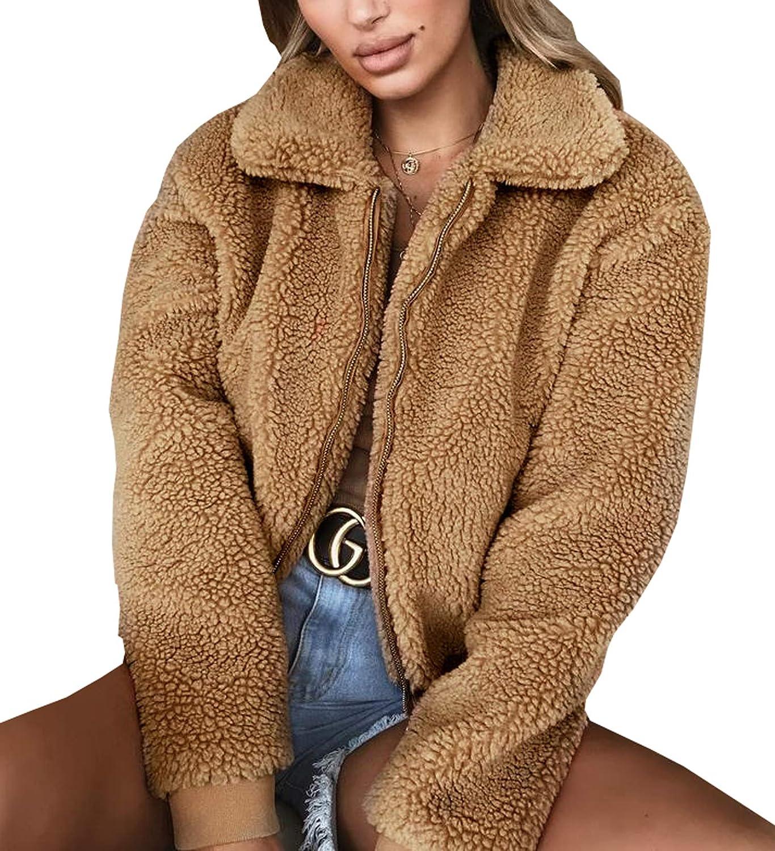 Elevesee Women's Lapel Zip up Jacket Faux Shearling Shaggy Warm Sweater Coat