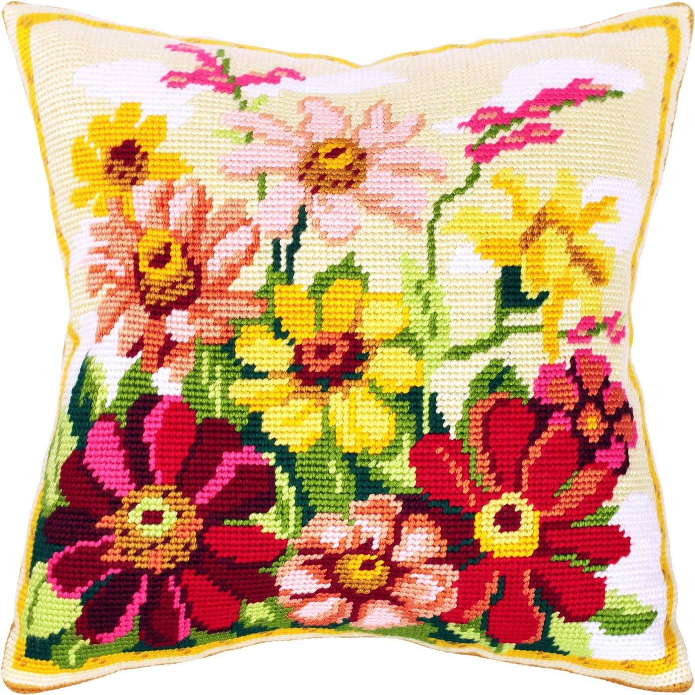 Flowers Printed Tapestry Canvas Throw Pillow case 16/×16 inches Zinnia DIY Embroidery Needlepoint Front Cushion Cover Home Decor European Quality Zinnias Cross Stitch kit