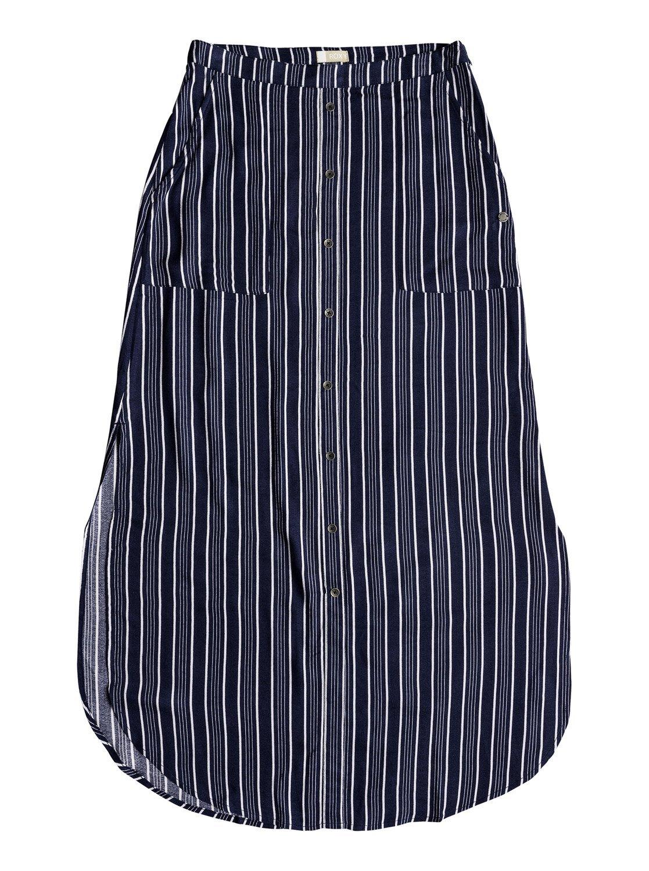 Roxy Junior's Sunset Islands Skirt, Dress Blues Vertical Stripes, XS