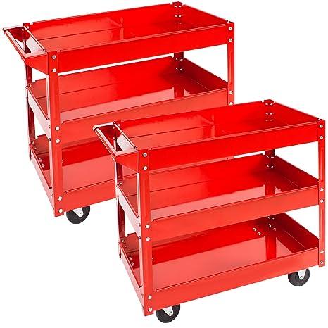 TecTake Carro de taller de herramientas Carro con ruedas de montaje - varios modelos - (2x 3 grandes superficies de carga | No. 402422)
