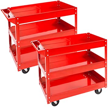 TecTake Carro de taller de herramientas Carro con ruedas de montaje - varios modelos - (2x 3 grandes superficies de carga | No.