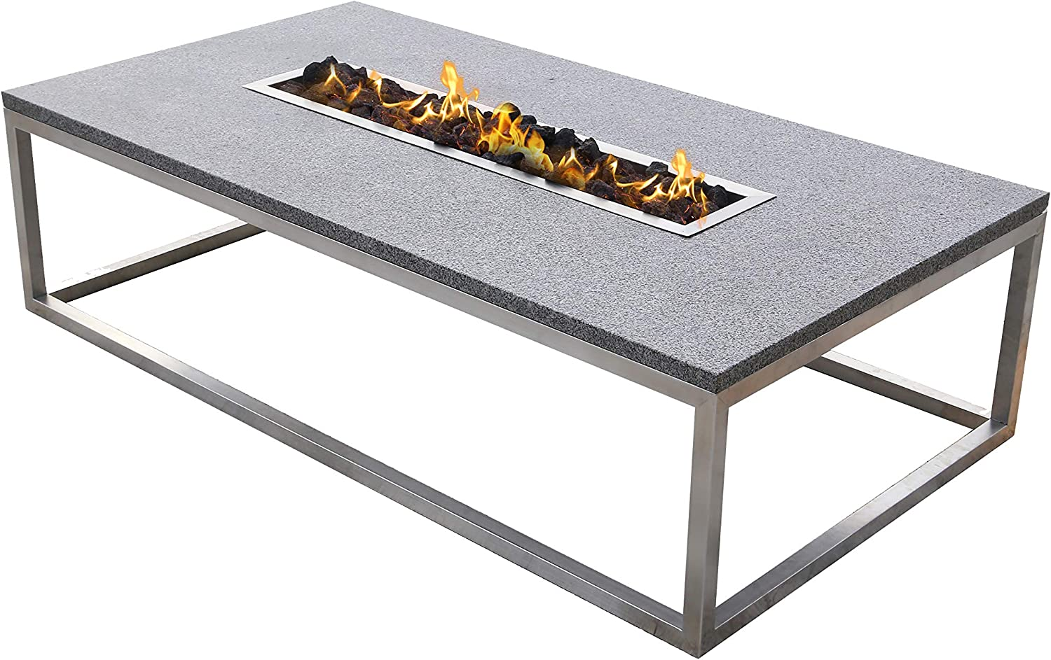 B07JP9LF5J Stone Age Creations Stainless Steel Granite Fire Pit, Rectangular 81BVQ6IEhKL