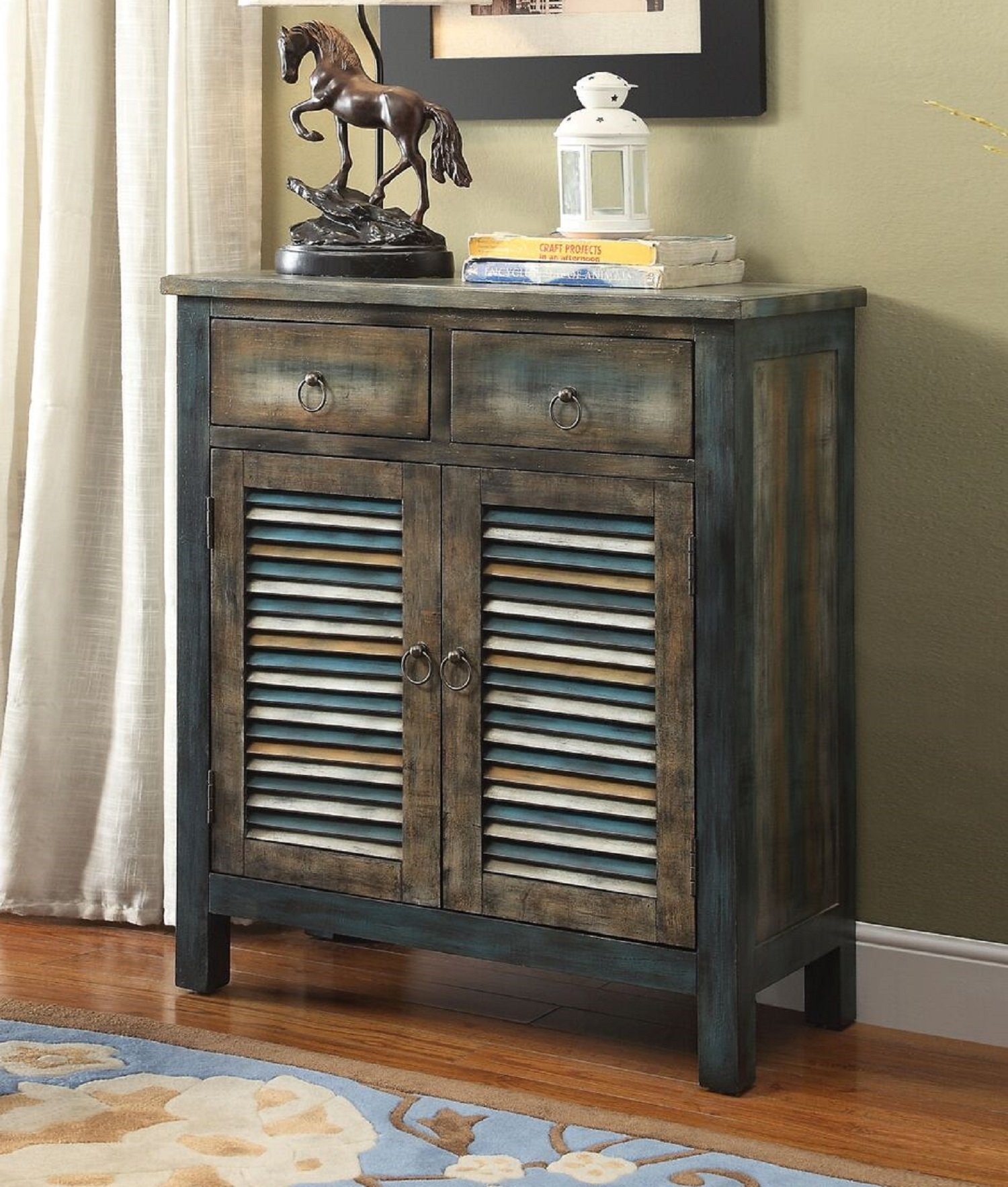 "Major-Q 9097253 35"" H Vintage Style Rectangular Antique Oak Teal Finish 2-Drawer 2-Door Wooden Console Table - Major-Q is a registered furniture trademark brand. Please search Major-Q for more high quality furniture related products All Major-Q Products will be covered with Limited Major-Q Warranty. Please buy with confidence. Console Table, 32"" x 15"" x 35""H - tv-stands, living-room-furniture, living-room - 81BVQ9 LQ7L -"