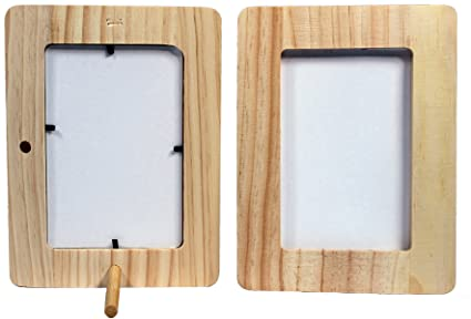 Creative Hobbies Unfinished 12 Inch Thick Wood Craft Picture Frame Holds 4x6 Inch Photo Peg Stand Included